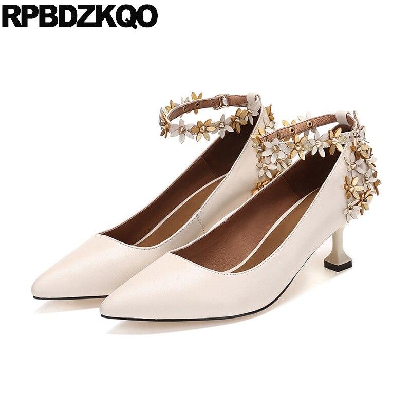 Floral Kitten Prom Flower Beige Genuine Leather Women Ankle Strap Dress Shoes Pumps Size 4 34 Pointed Toe 33 2018 Medium Heels