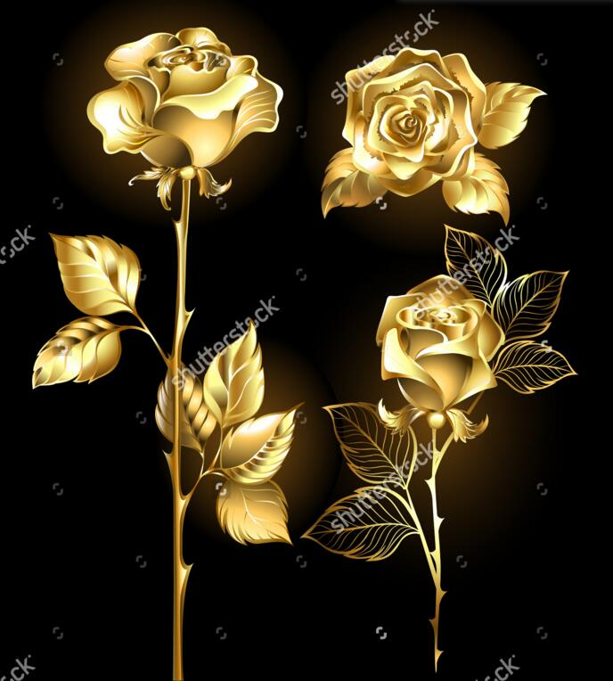 gold rose wallpaper  Rose wallpaper,Set of gold, shining roses ,retro pattern for the ...
