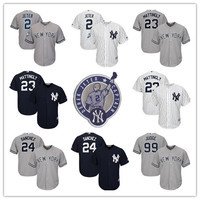 MLB Men S 2 Derek Jeter Retirement Patch Baseball Jerseys 23 Don Mattingly 24 Gary Sanchez