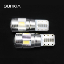 2Pcs/Pair SUNKIA T10 Canbus Cold White Error Free Bulb W5W LED 6-SMD 5630 Lens Projector Aluminum for VW BMW Benz