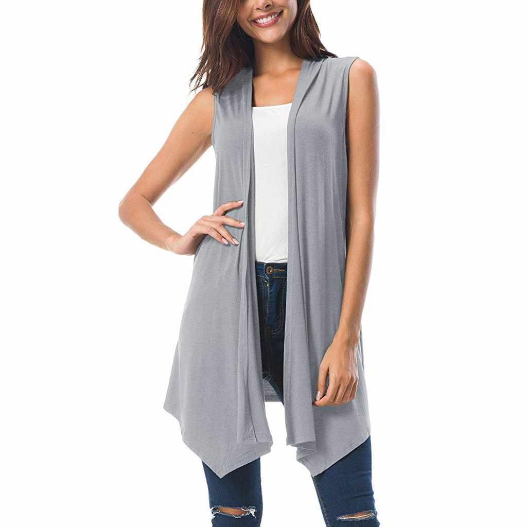Zomer Mode Gedrapeerde Open Vest Vest Blouse Dames Solid Casual Cover up Vrouwelijke vrouwen Overhemd Blusas Kimono Trui