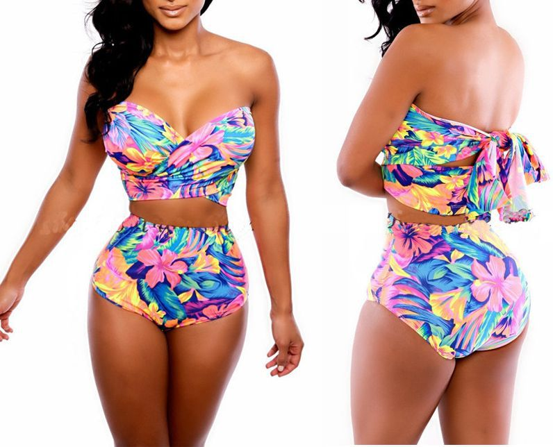 2014 New Women's Retro Vintage Push Up High Waist Two Pieces ...