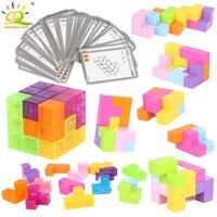 Игрушки HUIQIBAO, 2 цвета, головоломка, магнитный магический куб, создание здания, сборка блоков, развивающие антистрессовые игрушки для детей