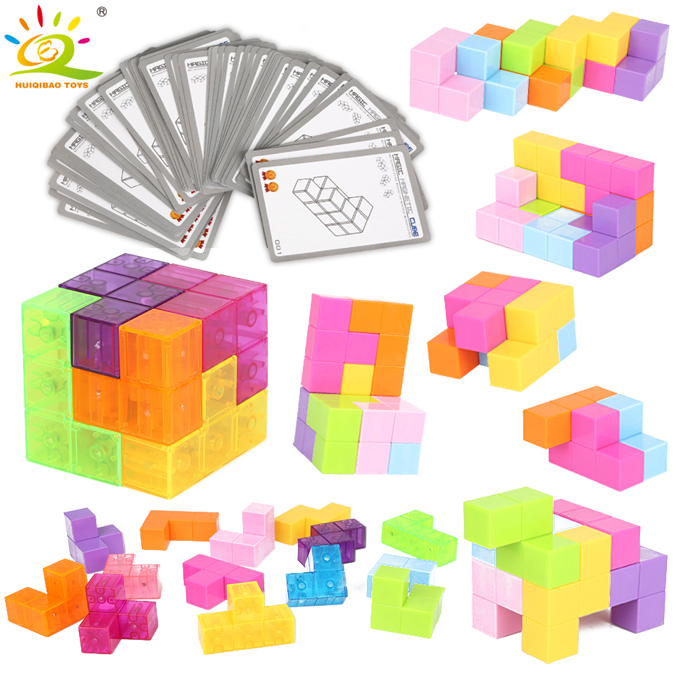 HUIQIBAO TOYS 2colors Puzzle Magnetic Magic Cube Creating Building Blocks Assembly game Educational Antistress toys For Children