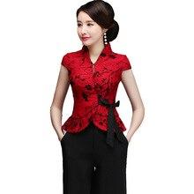 Размера плюс Сексуальное Красное Кружевное платье для матери одежда для свадьбы в китайском стиле Винтаж с воротником «Мандарин», в стиле эпохи Тан Топ Элегантная футболка с коротким рукавом блуза M-5xl