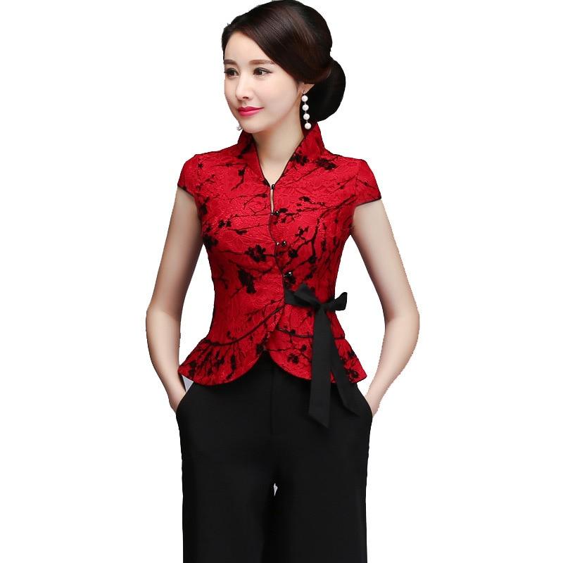 Grande taille Sexy rouge dentelle mère mariage vêtements chinois Vintage Mandarin col Tang Top élégant à manches courtes chemise Blouse M-5xl