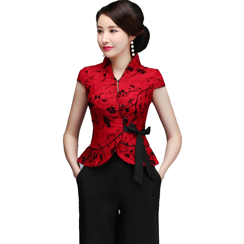 09714cab9 Talla grande Sexy rojo encaje madre boda ropa china Vintage mandarín Collar  Tang Top elegante manga corta Camisa blusa M-5xl
