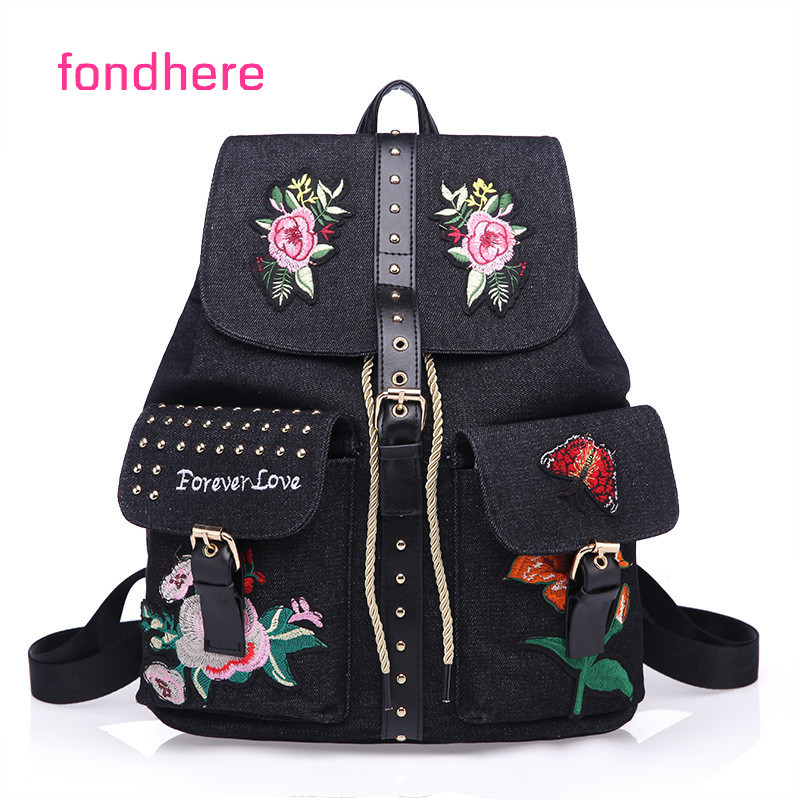 fondhere 2017 New Women Backpack Famous Brand Embroidery Letter Backpacks Fashion Girls School Bags PU Leather