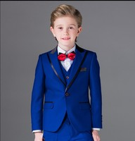 ワンボタン男の子タキシードピークラペル子供スーツロイヤルブルー/レッド/ブラック子供結婚式/ウエディングスーツ(ジャケット+ベスト+パンツ+ネクタイ+シャツ) nh10