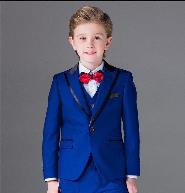 53fbb7ac7 One Button Boy Tuxedos Peak Lapel Children Suit Royal Blue/Red/Black Kid  Wedding/Prom Suits (Jacket+Vest+Pants+Tie +Shirt) NH10