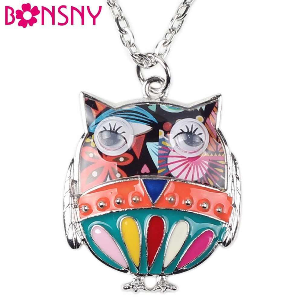 Bonsny Maxi Hợp Kim Men Owl Vòng Cổ Chim Chuỗi Mặt Dây Đầy Màu Sắc 2016 Tin Tức Trang Sức Cho Phụ Nữ Quyến Rũ Tuyên Bố Cổ Áo