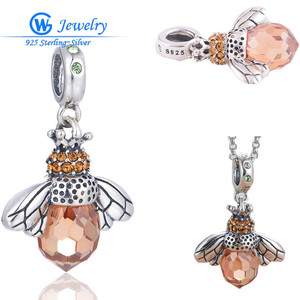 GW Fashion Jewelry Unique Jewelry Animal Bee Charm Hot New Products 2016 Pink CUBIC ZIRCONIA Charm Pendant DIY S061H10