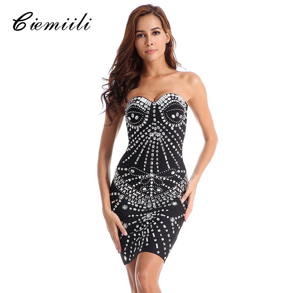 CIEMIILI Sexy Party Dresses Women Bandage Mini Bodycon Vestidos Elegant Beading Black Summer Dress 2018 Strapless