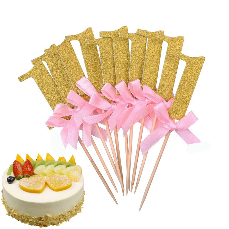 10pcs/lot 1st Birthday Party Decoration Toys Hat Children Party Toy Pink/blue Cupcake Toppers Princess Crown Hat Toys For Kids