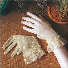 Короткие Свадебные перчатки Свадебные аксессуары украшения Brauthandschuhe белые перчатки свадебные 0226B
