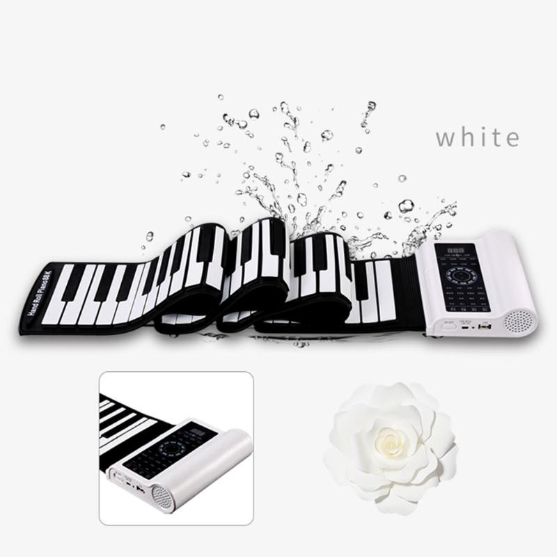 Portable 61 touches Piano électronique clavier souple Portable Silicone Flexible retrousser Piano jouet Instrument Misical