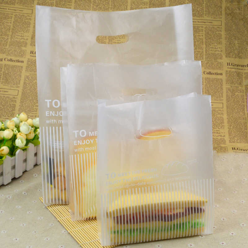 Disposable Plastic Take-out Package Bag Shopping Bags Restaurant Shop Tools Nontoxic Bread Bag White Bag Packing Tools 100pcs