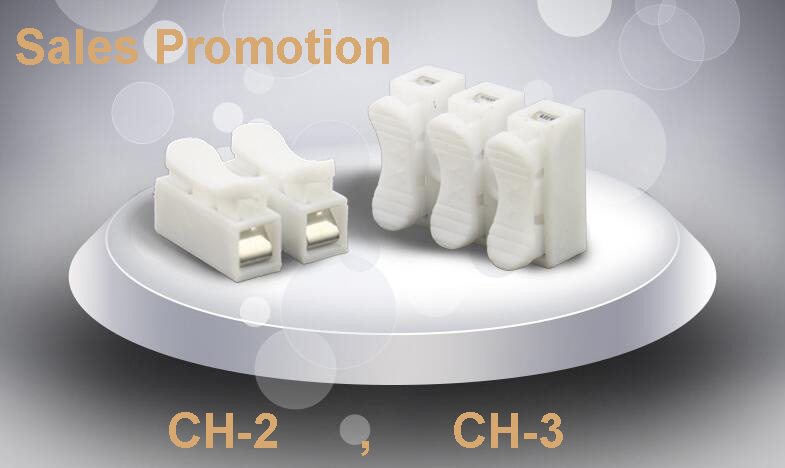 10pcs/lot 2p/3p Spring Splice Terminal Crimp cable Connector terminal Block Easy Fit for led strip CH-2/CH-3