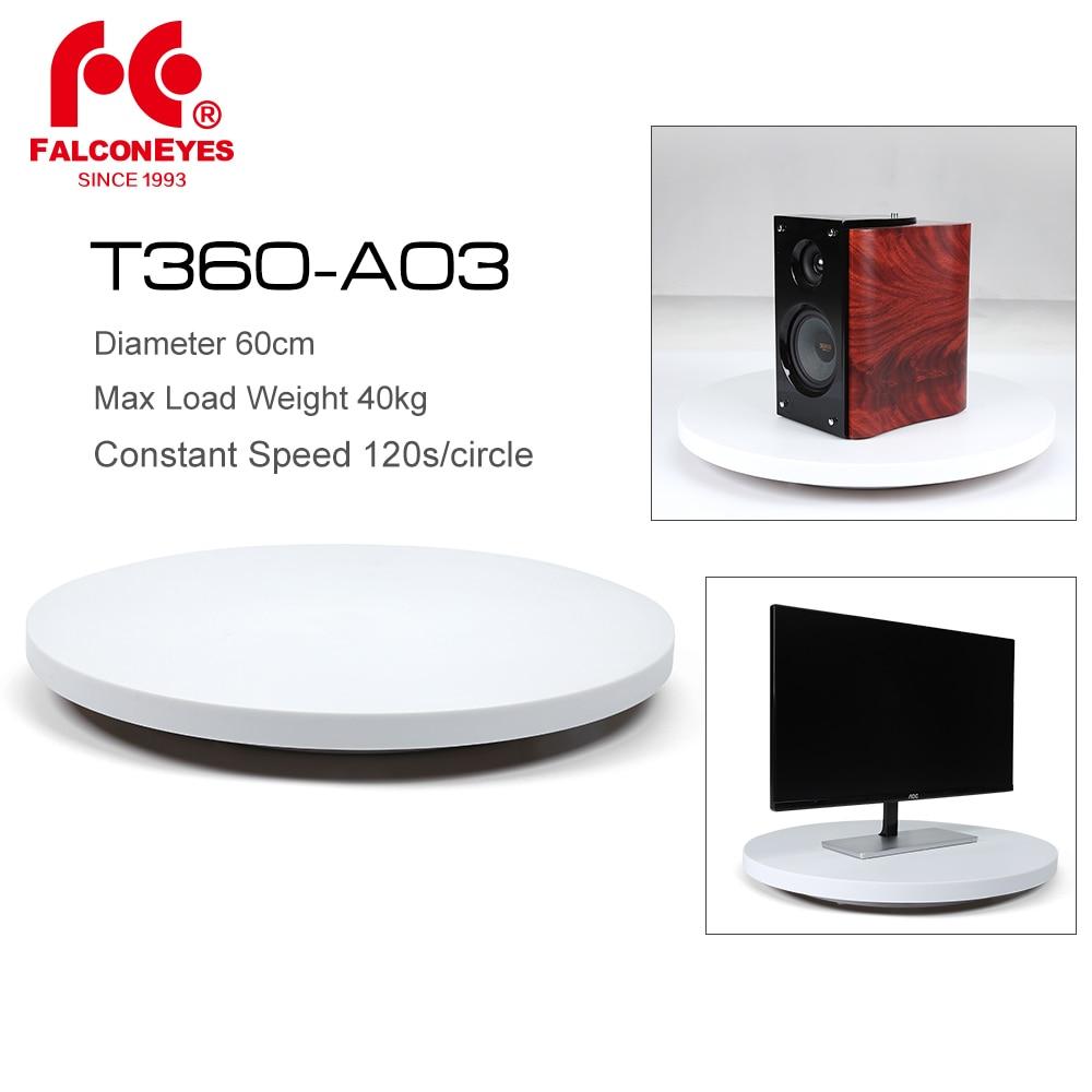 Falcon Eyes 60 cm T360-A03 360 degrés 3D affichage rotatif électrique plaque tournante photographie charge Max 40 kg pour produit d'exposition