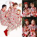 Moda Bebé Onesie Pijamas Set de Dos Piezas de Los Niños Niños ropa de Dormir pijamas de la navidad de Navidad para la familia a juego trajes set