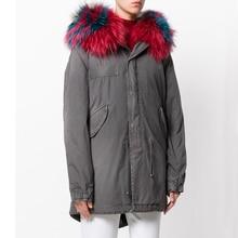 Warm Real Raccoon Fur Collar Coat Women Winter Real Mink Fur Liner Zipper Puffer Jacket With Hat Women Army Bomber Parka