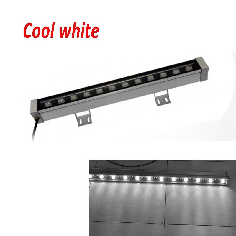 2 шт./лот высокой мощности 12 Вт 46*46*500 мм IP65 водонепроницаемый открытый светодиодный прожектор светодиодный промывная настенная лампа Пейзаж Настенный светодиодный светильник - Испускаемый цвет: Холодный белый