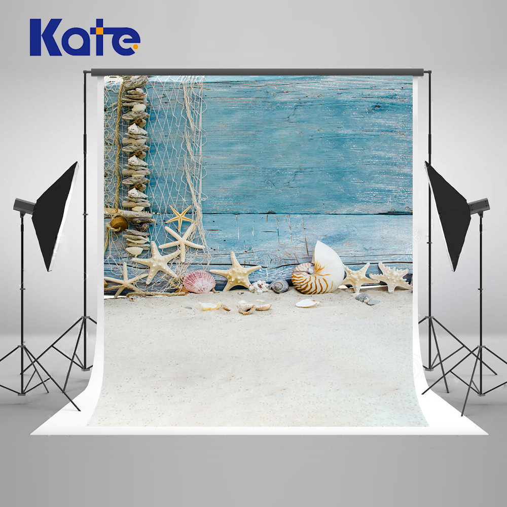 Kate Children Blue Wooden Photographic Background Beach Starfish Photography Backdrop Studio Washable Baby Backdrops kate dark blue starry sky baby photography backdrops with cloud studio washable seamless photography background material