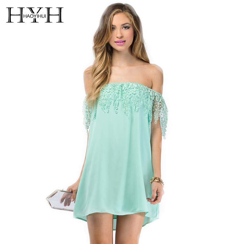 HYH Haoyihui Women Fashion Dress Slash Neck Sexy Off Shoulder Solid Backless Lace Patchwork Casual A Line Mini Dress in Dresses from Women 39 s Clothing