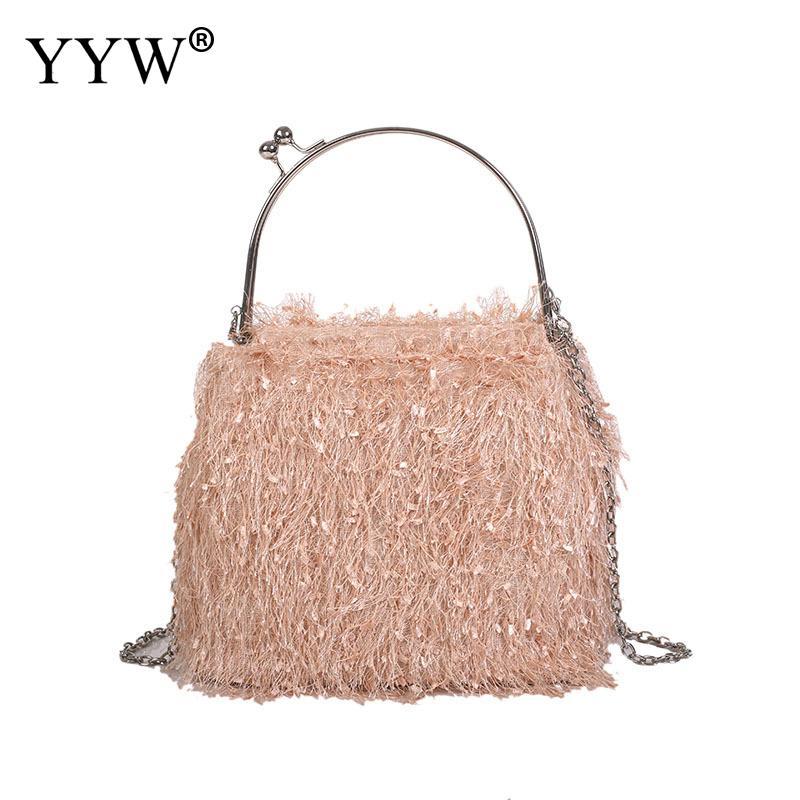 2018 New Fashion Fleece Cross Body Bag Women Evening Bag Tassel Handbag Purse Shoulder Bag Ladies Handbags Female White Pink