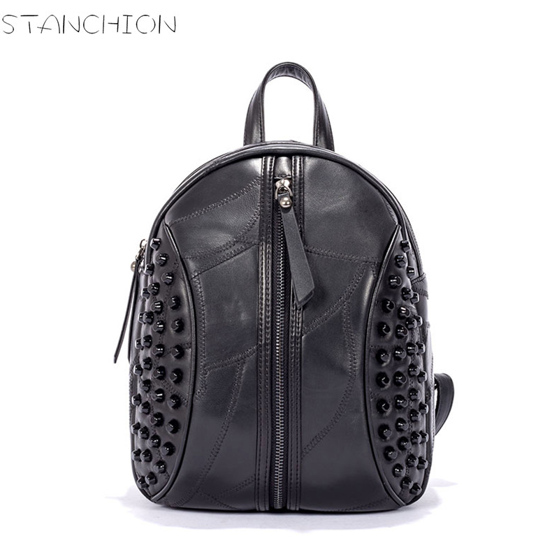 Women Backpack  Leather Sheepskin Bag Rivets Decoration  Young Women Backpack Punk