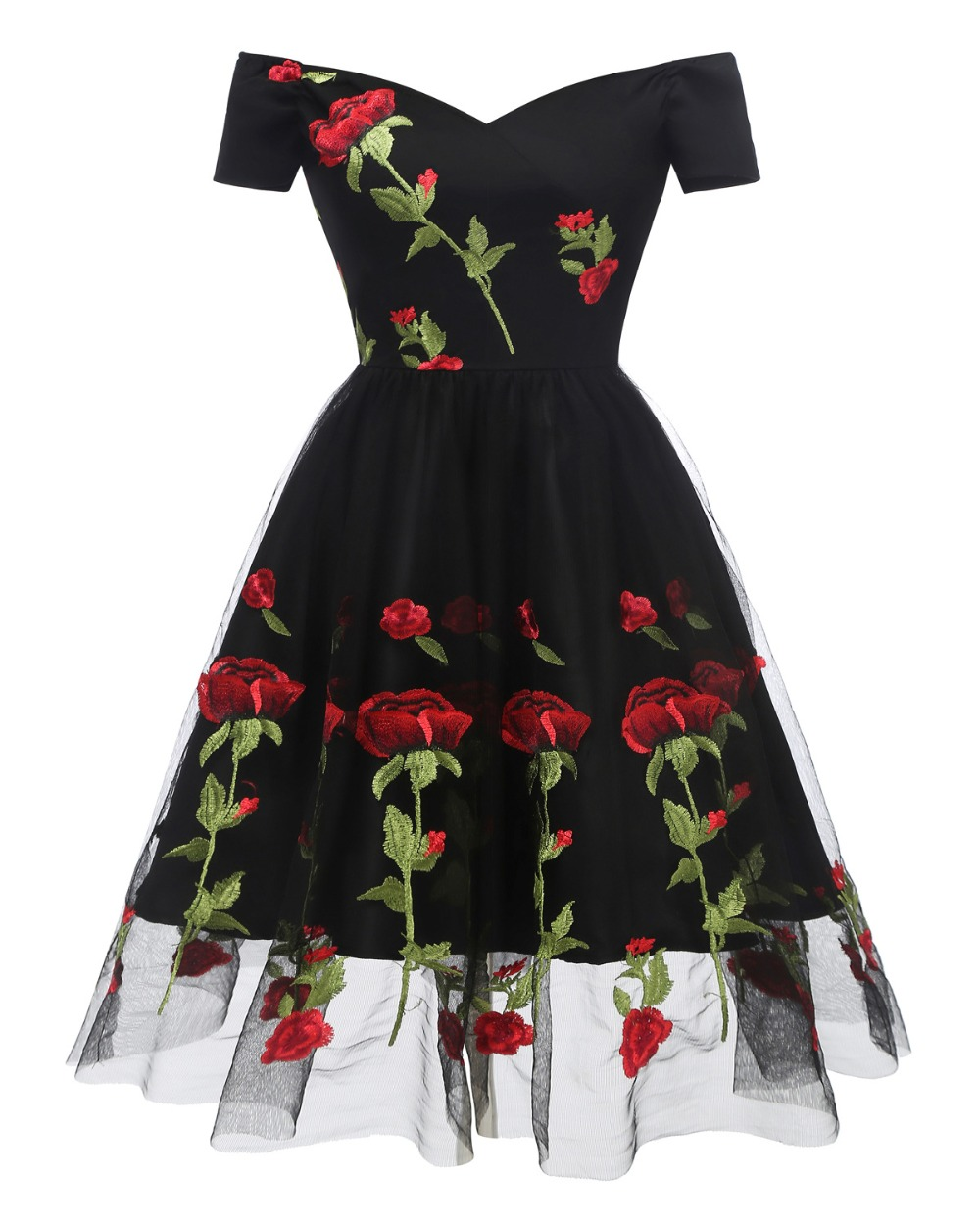 Womens Off the Shoulder Evening Party Dresses Slash Neck Floral Embroidery Mesh Vintage Dress Short Sleeve Sexy Dress