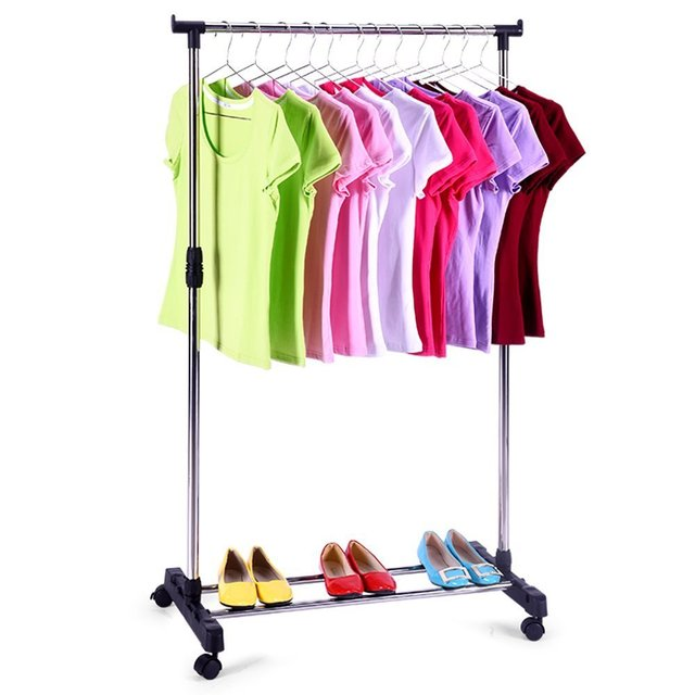 Portable Single Rod Clothes Rack Adjustable Garment Rack  With Wheels  Storage Shelves