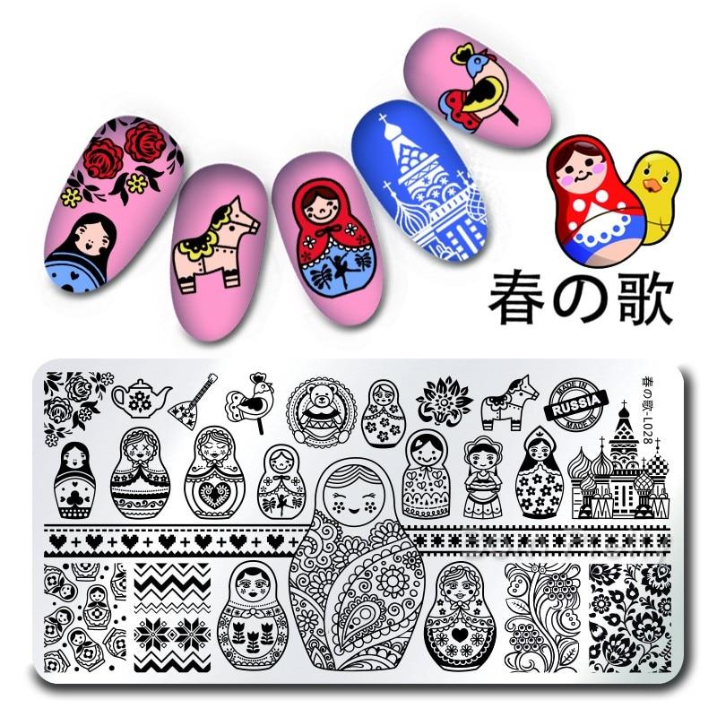 1Pc Rectangle font b Nail b font Art Stamp Template Russian Doll Pattern font b Nail
