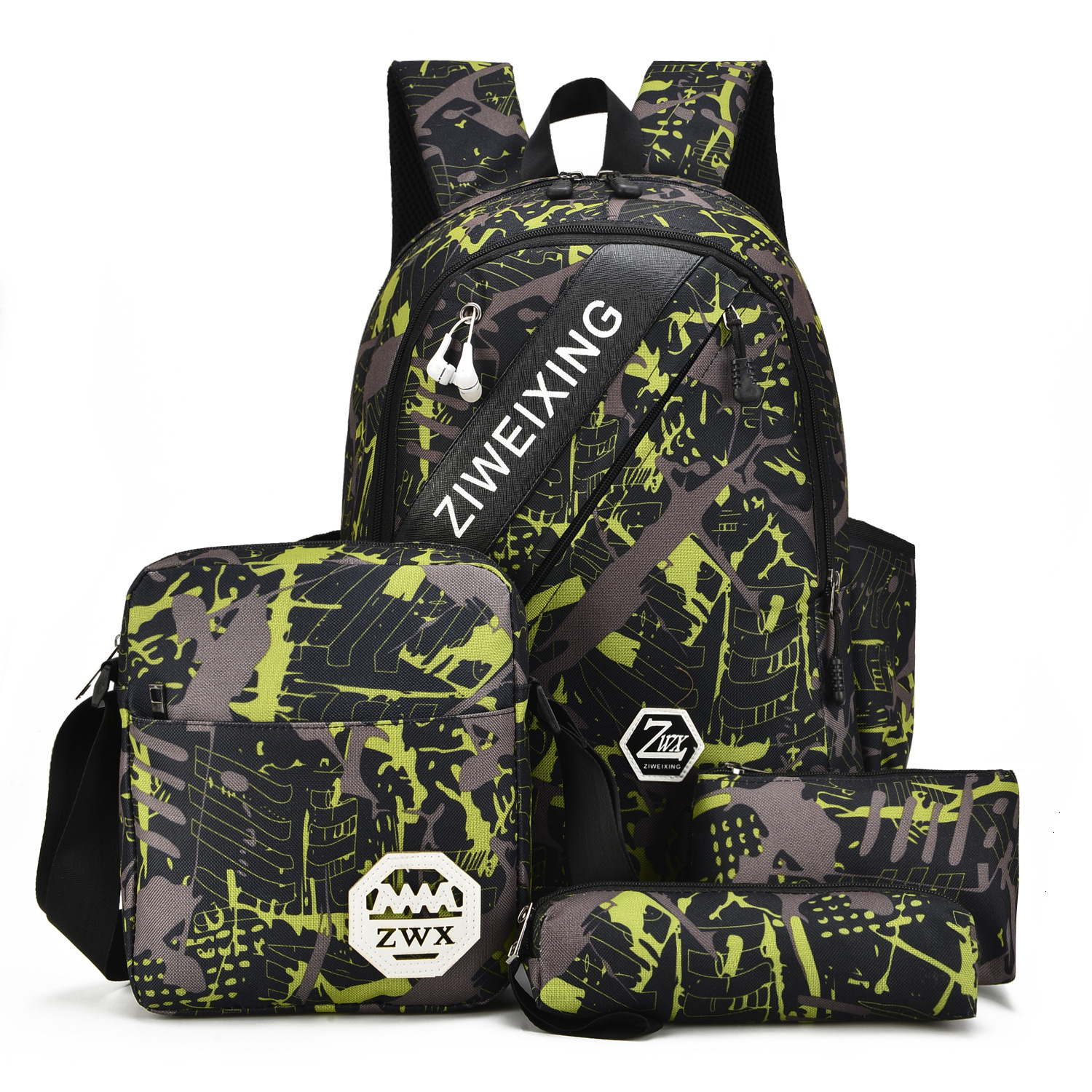 Fashion Camouflage Boys School Bags 5pcs Capacity Backpack For Teenagers Student Blue And Red Book Bag Men School Backpack Women