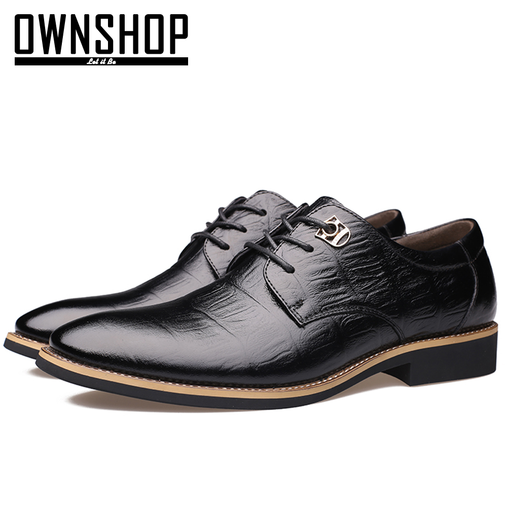 OWNSHOP Men Leather Shoes Genuine Leather Black Brown Oxford Men Shoes For Work Office Dress Man