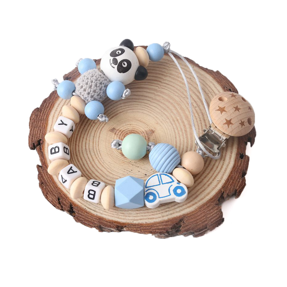1pc chupeta corrente nome personalizado clipe de madeira faia mordedor panda dos desenhos animados contas de madeira presentes bink clipe para crianças presente de natal