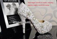 Handmade 12cm Heel White  Sparkling Rhinestone Bridal Shoes Wedding Dress Shoes Dancing Party Prom Shoes Evening Dress Shoe