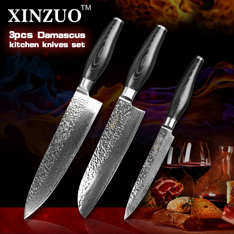 XINZUO 3 pcs kitchen font b knives b font set 73 layers Damascus kitchen font b