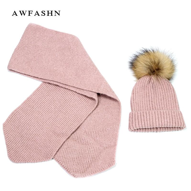 New 2 Pieces Set Children's Raccoon Fur Pom Poms Knit Beanie Hat Winter Scarf Cotton Warm Boy Girl Ski Baby Kids Thicken Bone