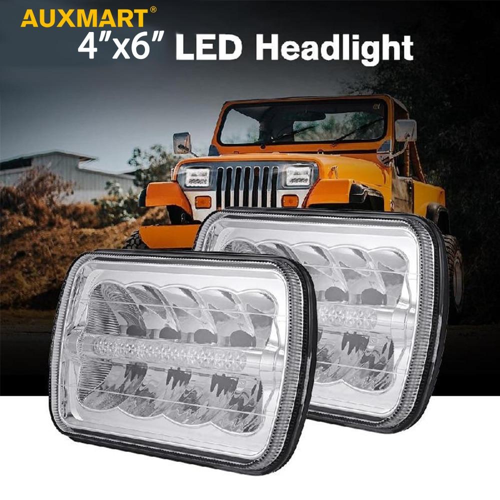 Auxmart H4 Car Headlight 4x6 Led Projector Headlights Hi Lo