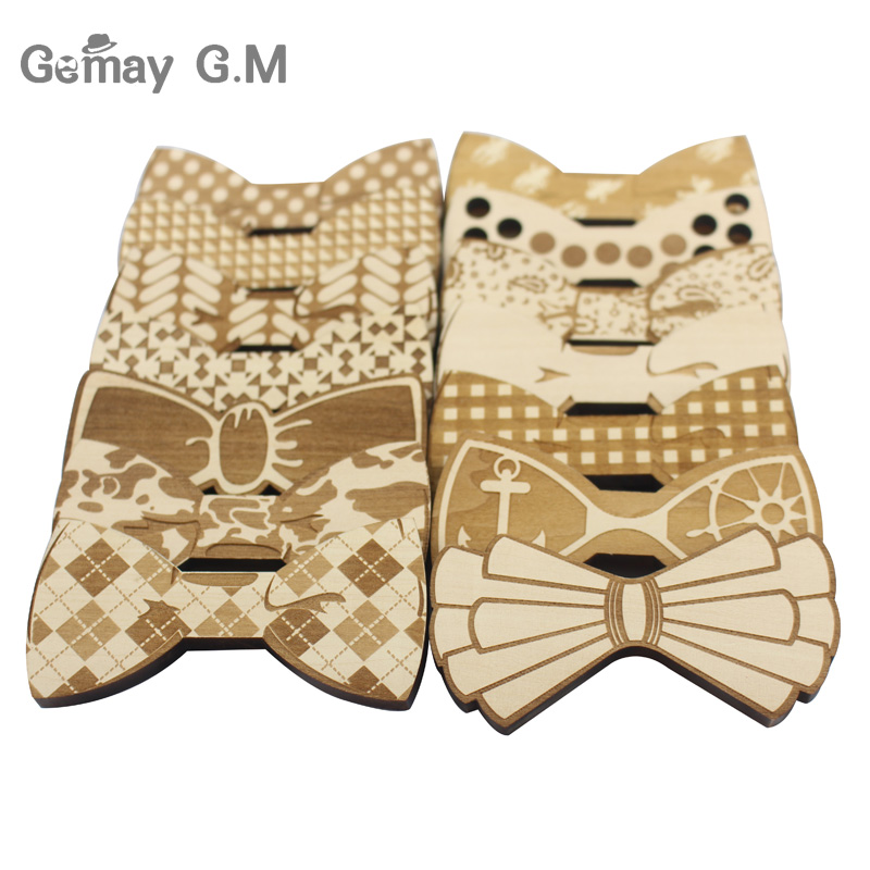 Gravata Plaid Wood Bowties For Men Wooden Mens Bow Ties For Wedding Party Bicycle Yarn Mustache Butterfly Design Necktie