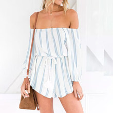 Conmoto Clearance Women Playsuit Rompers Stripe Off Shoulder Playsuits Rompers Summer Casual Beach Short Jumpsuit Rompers(China)
