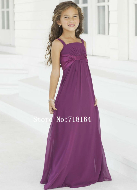 Purple Chiffon Long Flower Girl Dress 2017 Junior Bridesmaid Dress