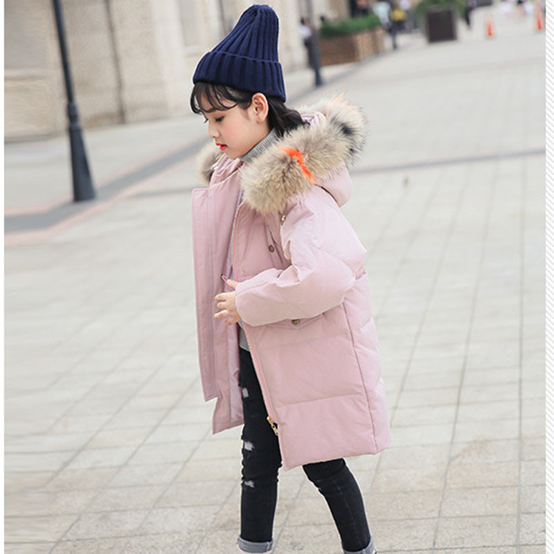 2018 Winter Big Girls Down Coats Teenage Warm Thick Real Raccoon Fur Collar Hooded Jackets White Duck Down Parka Outerwears P92 цена
