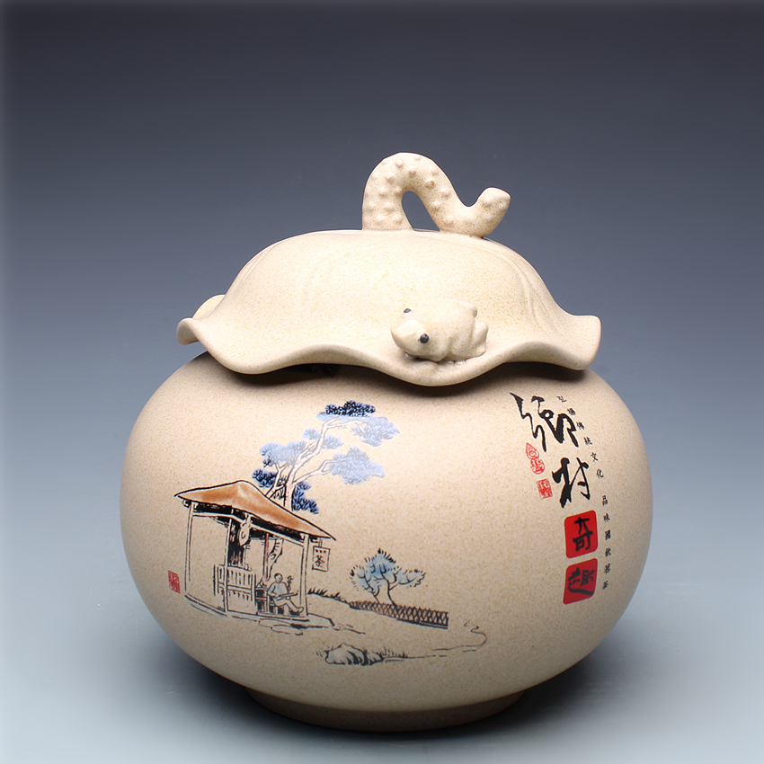 Chinese style unique caddy Queen lotus shaped lid ceramic seal food cans Sugar Bowl wake up