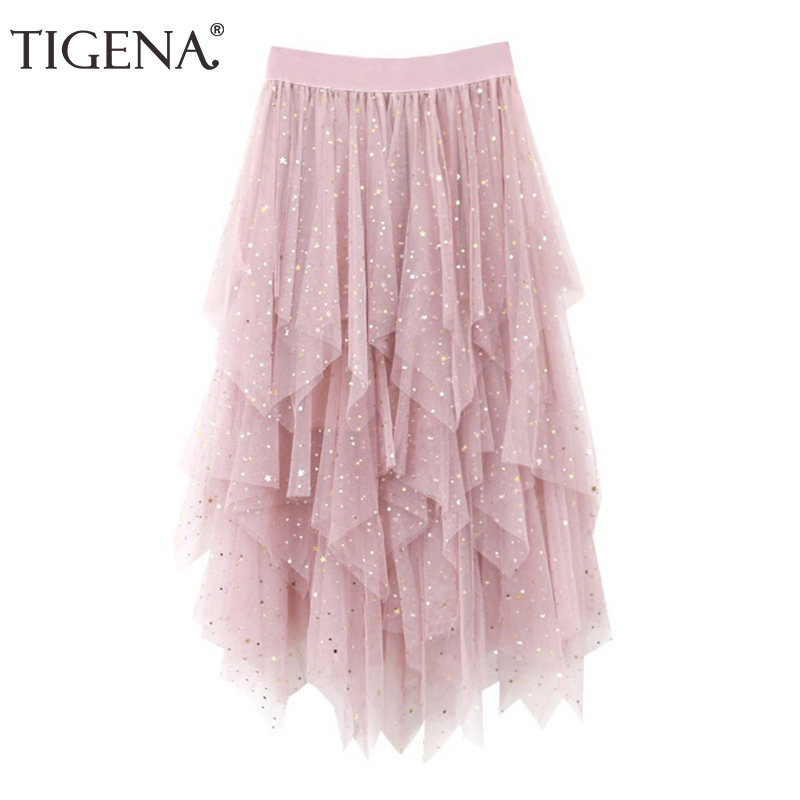 TIGENA 2018 Summer Fashion Sequin Asymmetrical Mesh Tulle Tiered Skirts Women High Waist Tutu Long Skirt Female Black Pink White
