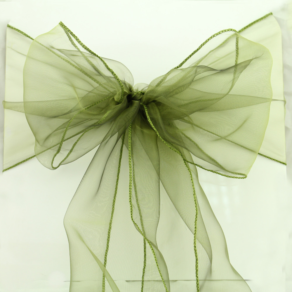 100 pcs lot 30colors option Wedding Organza Chair Cover Sashes Party wedding decoration Bow