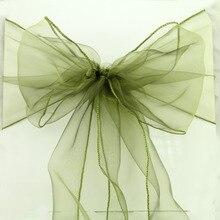 цена на 100 pcs/lot  23 colors option Wedding Organza Chair Cover Sashes Sash Party Banquet Decor Bow ,factory direct best quality