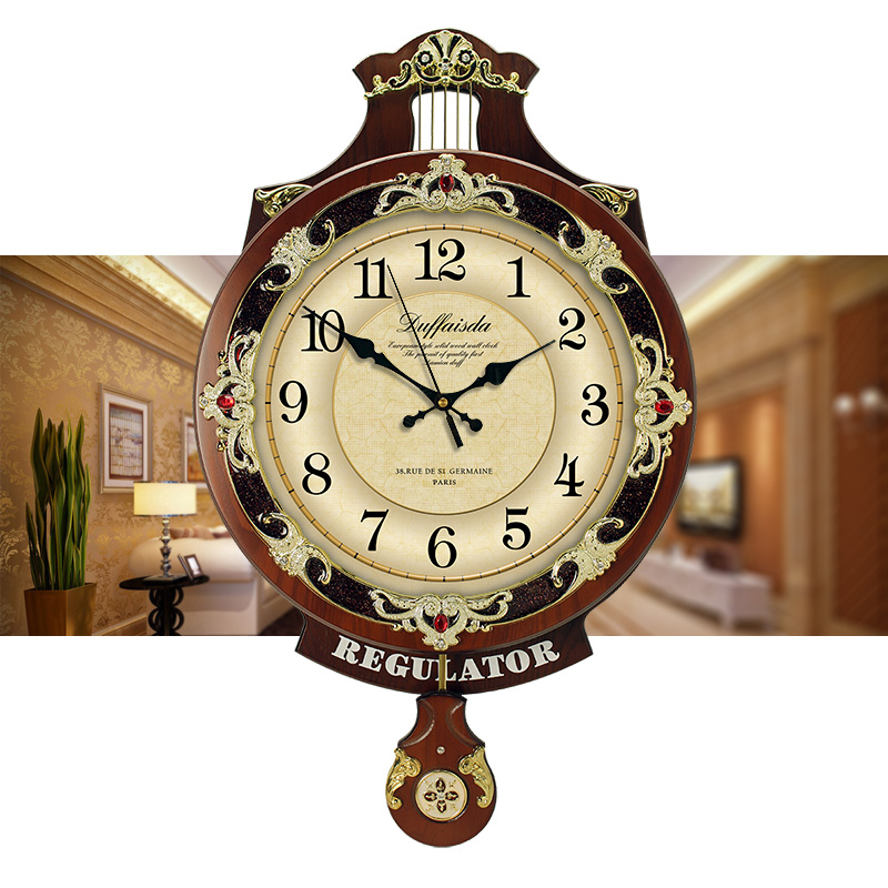 Wood Clock Quartz Watch with European Living Room Wood Hanging Clock Silence Machine Core and American Pastoral Clock