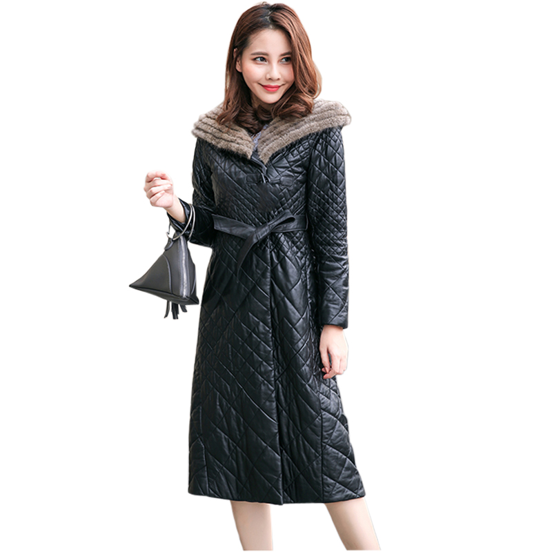 Women Soft PU Leather   Parkas   With Belt 2018 New Ladies Imitation Mink Fur Collar Hooded Jacket Coat Female Winter Outerwear